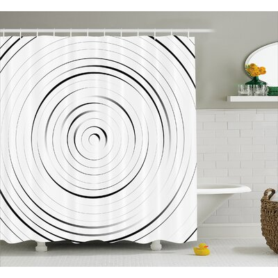 "White Modern Decor Pattern Shower Curtain Size: 69"" W x 84"" L"