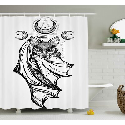 """Gray Bat with Moons Spiritual Shower Curtain Size: 69"""" W x 70"""" L"""