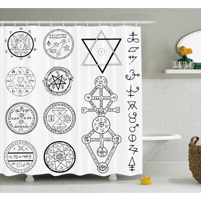 "White Collage of Magic Symbols Shower Curtain Size: 69"" W x 84"" L"