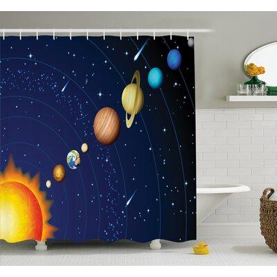 "Justyn Solar System with Sun Shower Curtain Size: 69"" W x 70"" L"