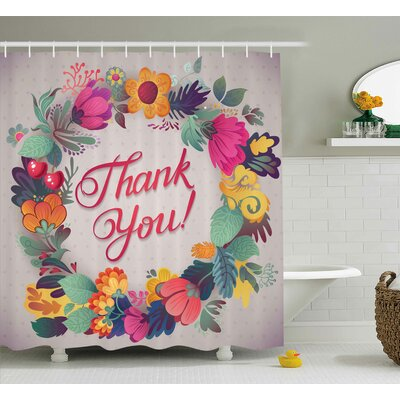 "Graves Thank You Decor Ceramic Shower Curtain Size: 69"" W x 70"" L"