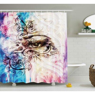 "Fabric Woman Eye Grungy Retro Shower Curtain Size: 69"" W x 70"" L"
