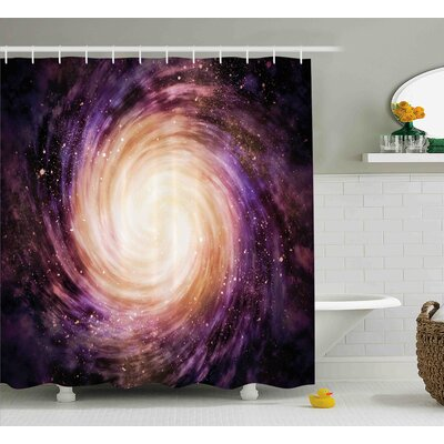 """Galaxy Alluring Space Hole Shower Curtain Size: 69"""" W x 70"""" L"""