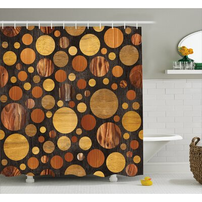 """Wooden Brown Abstract Circles Shower Curtain Size: 69"""" W x 70"""" L"""