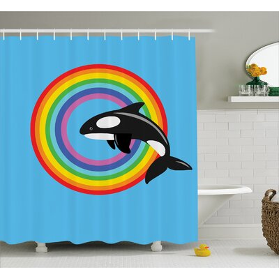 """Ginnifer Rainbow Round and Whale Shower Curtain Size: 69"""" W x 70"""" L"""
