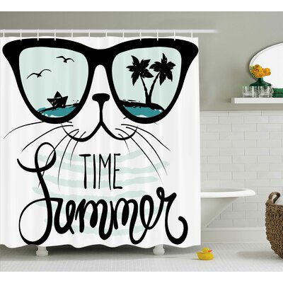 """Aluin Hipster Cat with Palms Shower Curtain Size: 69"""" W x 70"""" L"""
