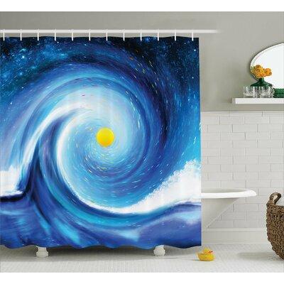 "Adelia Surfer Wavy Sun Decor Shower Curtain Size: 69"" W x 84"" L"