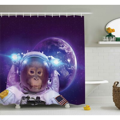 """Outer Space Astrounaut Monkey Shower Curtain Size: 69"""" W x 70"""" L"""