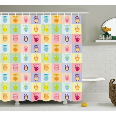 "Marcelo Colorful Cute Owl Home Shower Curtain Size: 69"" W x 75"" L"