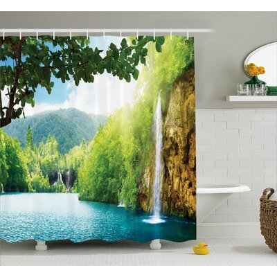 "Landscape Crotian Lake Forest Shower Curtain Size: 69"" W x 70"" L"