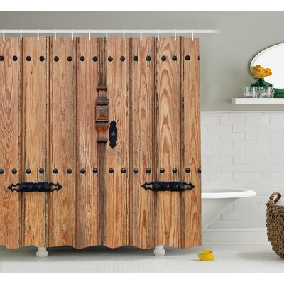 """Wooden Door with Iron Detail Shower Curtain Size: 69"""" W x 75"""" L"""