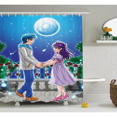 "Anime Decor Romantic Manga Shower Curtain Size: 69"" W x 75"" L"