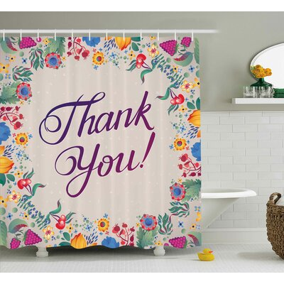 "Graves Thank You Decor Festive Shower Curtain Size: 69"" W x 70"" L"