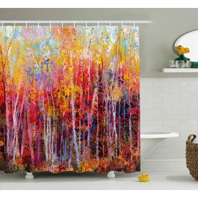 """Bartlett Autumn Forest Painting Shower Curtain Size: 69"""" W x 70"""" L"""