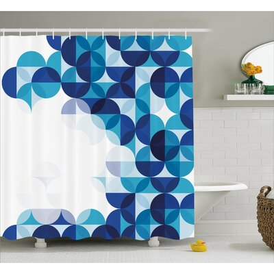"Grafton Modern White Circles Shower Curtain Size: 69"" W x 70"" L"