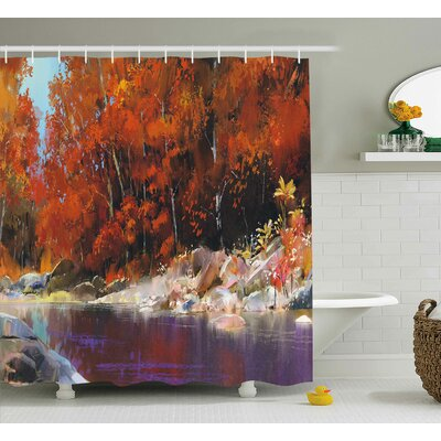 """Bartlett Autumn Forest with Rock Shower Curtain Size: 69"""" W x 70"""" L"""