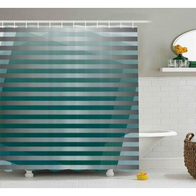 "Enrique Graphic Striped Media Shower Curtain Size: 69"" W x 70"" L"