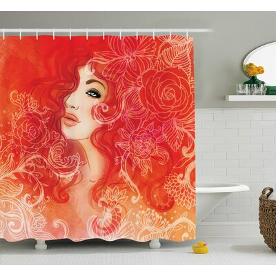 "Red Lady Hair Floral Ornament Shower Curtain Size: 69"" W x 84"" L"