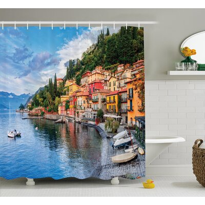 "Italian Yacht Boat Idyllic Town Shower Curtain Size: 69"" W x 70"" L"