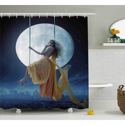 """Space Swing in the Sky Moon Shower Curtain Size: 69"""" W x 84"""" L"""