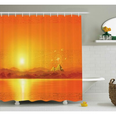 """Andrew Geometry Symbol in Air Shower Curtain Size: 69"""" W x 70"""" L"""