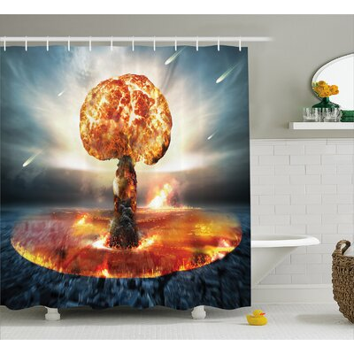 """Fabric Atomic Bomb Explosion Shower Curtain Size: 69"""" W x 70"""" L"""