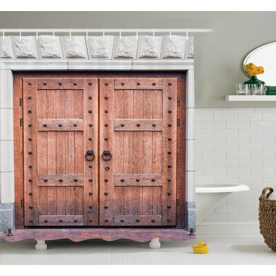 "Rustic Antique French Wood Door Shower Curtain Size: 69"" W x 84"" L"