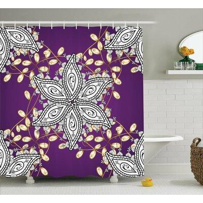 """Althom Vintage Floral Petals Shower Curtain Size: 69"""" W x 75"""" L"""