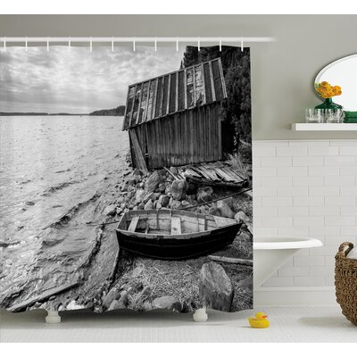"""Black and White Fishing Boat Shower Curtain Size: 69"""" W x 75"""" L"""