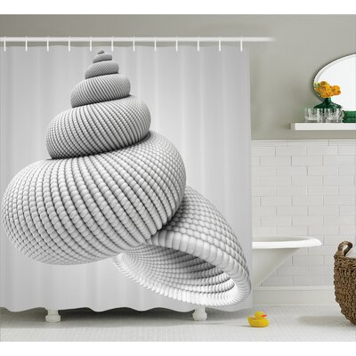 """White Shell Shaped Figure Shower Curtain Size: 69"""" W x 70"""" L"""