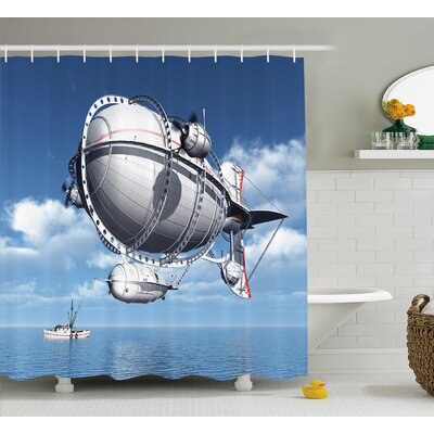 "Aviation Sea Flying Cloudy Sky Shower Curtain Size: 69"" W x 75"" L"