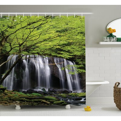 "Scenery Rock Tree in Waterfall Shower Curtain Size: 69"" W x 84"" L"