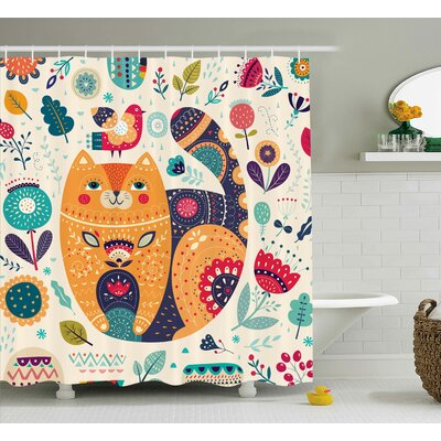 """Paisley Cat and Flower Leaf Shower Curtain Size: 69"""" W x 70"""" L"""