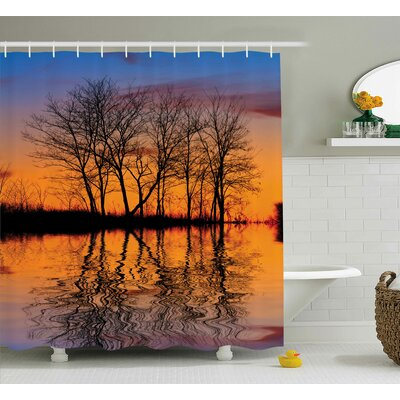 """Nature Sunset by Lake View Shower Curtain Size: 69"""" W x 75"""" L"""