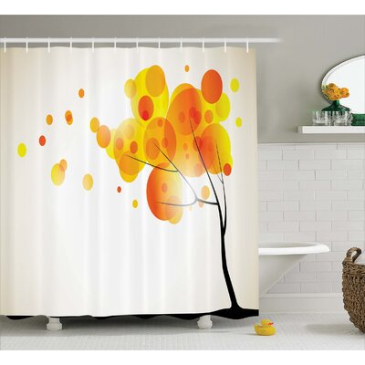 """Aidy Autumn Sun and Trees Shower Curtain Size: 69"""" W x 70"""" L"""