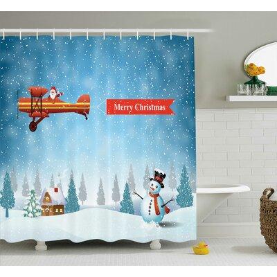 "Christmas Santa Plane Snowman Shower Curtain Size: 69"" W x 75"" L"