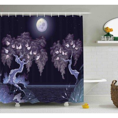 "Glenn Magical Dramatic Night Shower Curtain Size: 69"" W x 70"" L"