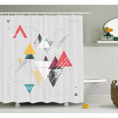 "Billips Triangle Geometric Shower Curtain Size: 69"" W x 70"" L"