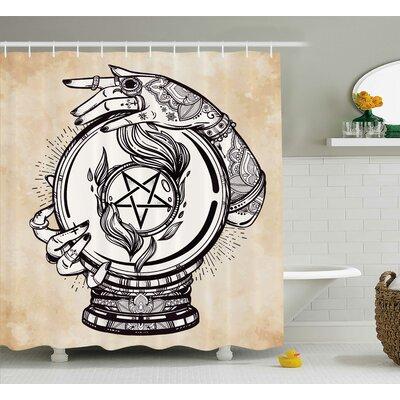 "Tan Medium Crystal Ball Indian Shower Curtain Size: 69"" W x 75"" L"