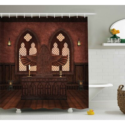 """Gothic Temple Rituals Tradition Shower Curtain Size: 69"""" W x 84"""" L"""