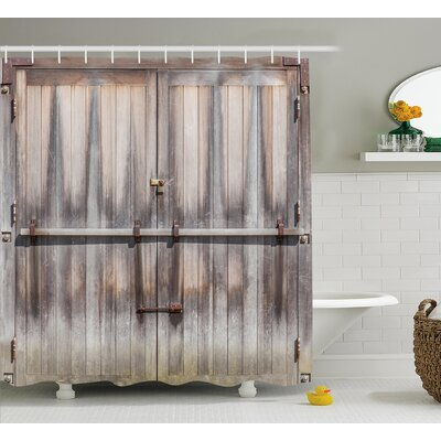 "Retro Wooden Oak Country Gate Shower Curtain Size: 69"" W x 75"" L"