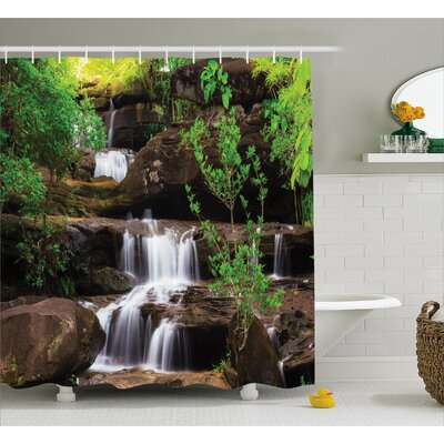 """Nature Rock Stair in Waterfall Shower Curtain Size: 69"""" W x 70"""" L"""