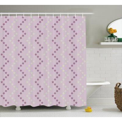 """Javonte Zig Zag Stars Stripes Shower Curtain Size: 69"""" W x 75"""" L"""