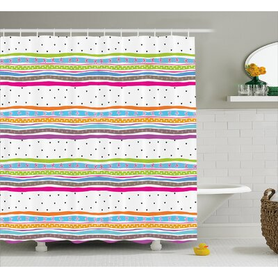 """Santos Bows Hearts Dots Girly Shower Curtain Size: 69"""" W x 70"""" L"""