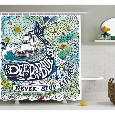 """Animal Whales Island with Palm Shower Curtain Size: 69"""" W x 75"""" L"""