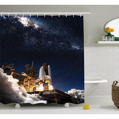 "Solar Adventure Shower Curtain Size: 69"" W x 75"" L"
