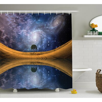 "Space Galaxy with Star Meteors Shower Curtain Size: 69"" W x 75"" L"
