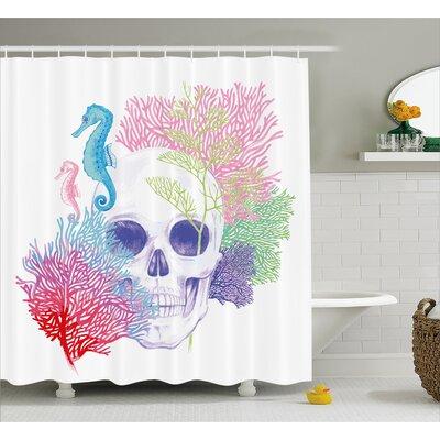 "Halloween Wild Skull Skeletons Shower Curtain Size: 69"" W x 84"" L"