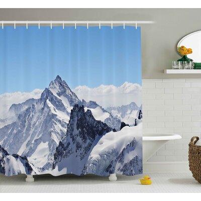 """Winter Snowy Mountain Peaks Shower Curtain Size: 69"""" W x 70"""" L"""