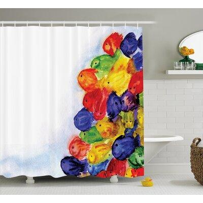 "Sea Animals Decor Shower Curtain Size: 69"" H x 70"" W"